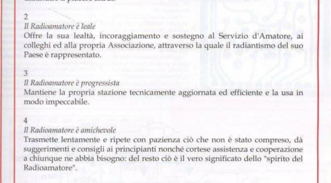 Buon anno. Codice etico internazionale del Radioamatore.
