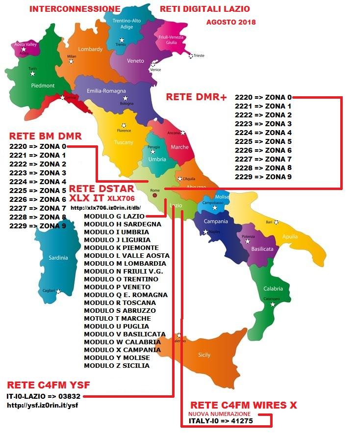 mappa zona 0 lazio DMR+ TG2220 BM TG2220 YSF 03832 WIRES-X 41275 DSTAR XLX706G